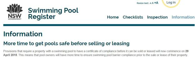 Requirement For Pool Owners To Obtain A Compliance Certificate Extended Until 29th April 2016